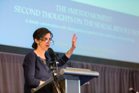"""Helen Alvare, a law professor at George Mason University's Antonin Scalia Law School in Arlington, Va., speaks at a May 31 event titled """"The #Metoo Moment: Second Thoughts on the Sexual Revolution."""""""