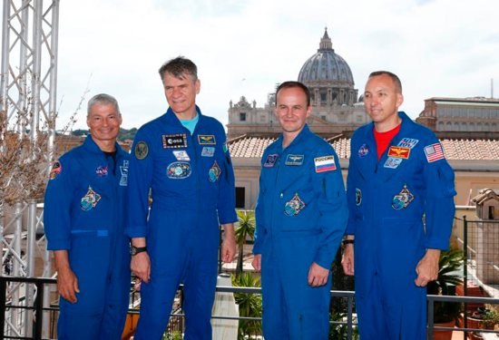 International Space Station Astronauts Mark T. Vande Hei of the United States, Paolo A. Nespoli of Italy, Sergey Ryazanskiy of Russia and Randolph Bresnik of the U.S. are pictured at a reception in Rome after meeting Pope Francis