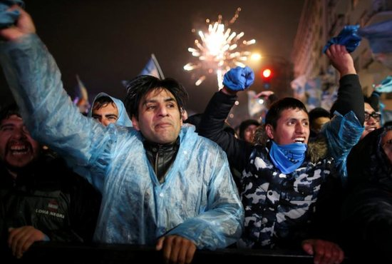 Pro-life advocates celebrate in Buenos Aires, Argentina, Aug. 9 after lawmakers voted against a bill that would have legalized abortion.
