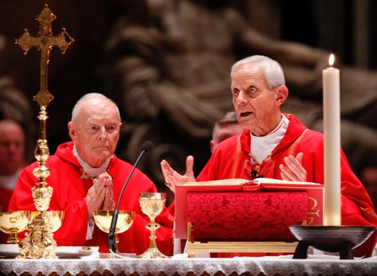Cardinal Theodore McCarrick, retired archbishop of Washington, and Cardinal Donald Wuerl of Washington, concelebrate a Mass of thanksgiving in 2010