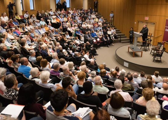 Cardinal Joseph Tobin of Newark, N.J., discusses the role of faith in the modern economy during a Sept. 5 event at Fordham University in New York.