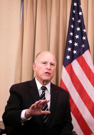 California Gov. Jerry Brown is seen in San Francisco Feb. 9. CNS photo/Pool