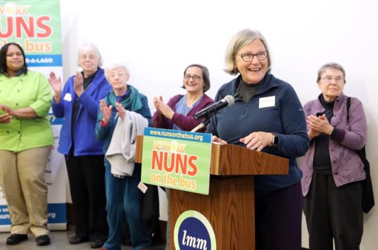 Sister Simone Campbell, executive director of Network, a Catholic social justice lobby, speaks at a rally questioning the 2017 tax cut law at Lutheran Metropolitan Ministries headquarters Oct. 20 in Cleveland.