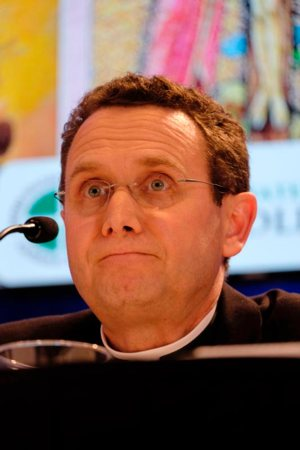 Auxiliary Bishop Andrew H. Cozzens of St. Paul and Minneapolis speaks during a news conference Nov. 13 at the fall general assembly of the U.S. Conference of Catholic Bishops in Baltimore.