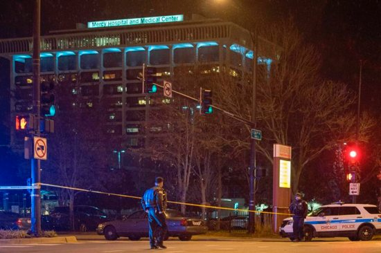 A crime scene at Mercy Hospital and Medial Center in Chicago is seen Nov. 19 following a shooting