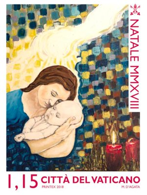 An image of Mary holding the child Jesus is featured on one of the Vatican's 2018 Christmas stamps.