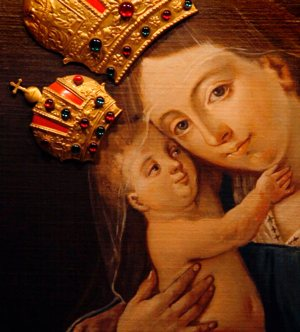 Mary and the Christ Child are depicted in this detail view of the painting of Our Lady of Brezje at the Basilica of the National Shrine of the Immaculate Conception in Washington.