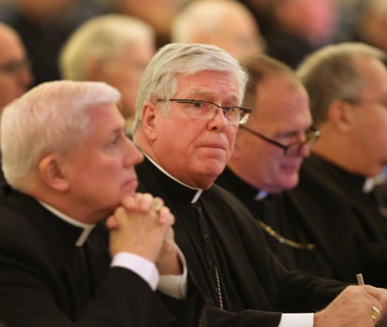 "Bishop Frank J. Dewane of Venice, Fla., second from left, is pictured during the Nov. 14, 2017, fall general assembly of the U.S. Conference of Catholic Bishops in Baltimore. Bishop Dewane, chairman of the U.S. bishops' Committee on Domestic Justice and Human Development said a new carbon pricing bill introduced Jan. 24 in Congress is a ""hopeful sign"" that ""climate change is beginning to be seen as a crucial moral issue, one that concerns all people."""