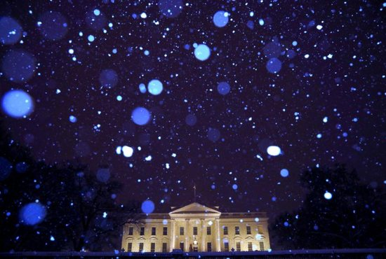 The White House is seen during a snowstorm in the early hours of Jan. 14.