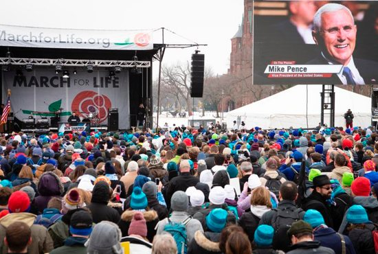 Vice President Mike Pence is introduced by Ben Shapiro, editor-in-chief of The Daily Wire, during the annual March for Life rally in Washington Jan. 18, 2019.
