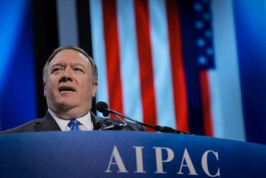"U.S. Secretary of State Mike Pompeo speaks at the American Israel Public Affairs Committee policy conference in Washington March 25, 2019. At a news briefing at the State Department March 26, Pompeo announced the Trump administration is expanding the ""Mexico City Policy"" that prohibits foreign aid for groups that perform or promote abortion."