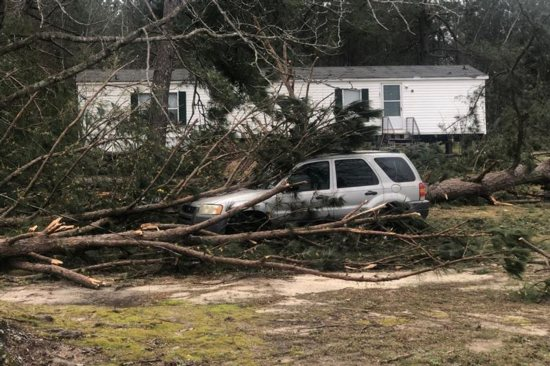 A tree is seen on top of a car March 4, 2019, following a tornado near Beauregard, Ala., the previous day. At least 23 people were confirmed dead in Lee County, Ala.