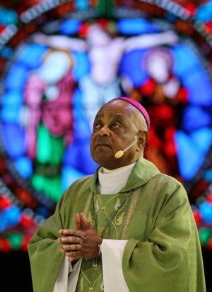Atlanta Archbishop Wilton Gregory concelebrates Mass during the Catholic convocation in Orlando, Fla., in this July 2, 2017, file photo. On April 4, 2019, Pope Francis named Archbishop Gregory to head the Archdiocese of Washington. CNS photo/Bob Roller