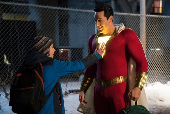 "Jack Dylan Grazer and Zachary Levi star in a scene from the movie ""Shazam."""