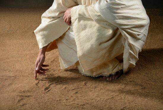 Jesus writes in the sand