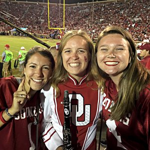 Emily Clark, right, with friends Tati Rodriguez, left, and Kate Hawley at a University of Oklahoma football game at Gaylord Memorial Stadium in Norman, Okla., Sept. 16, 2016.