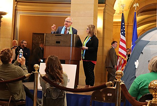 Gov. Tim Walz and Lt. Gov. Peggy Flanagan appear at a rally for affordable housing May 6 at the State Capitol in St. Paul.