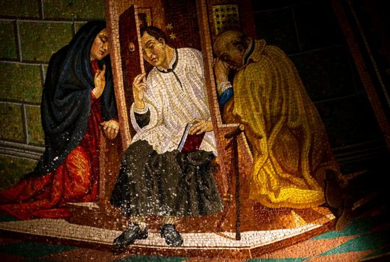 A mosaic image of St. John Nepomucene hearing confessions is displayed inside St. John Nepomucene Catholic Church in New York City May 2, 2019. The 14th-century Bohemian saint is considered the first martyr of the seal of confession.