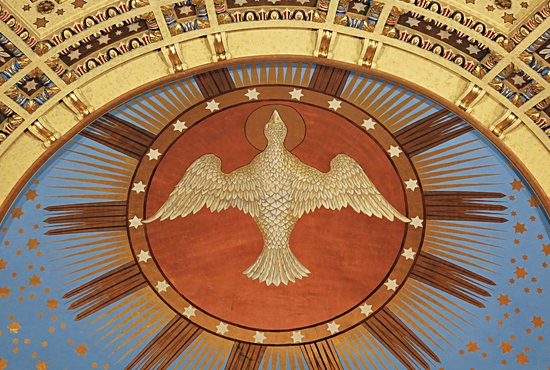 A mural of the Holy Spirit painted in the apse of the Cathedral of St. Paul