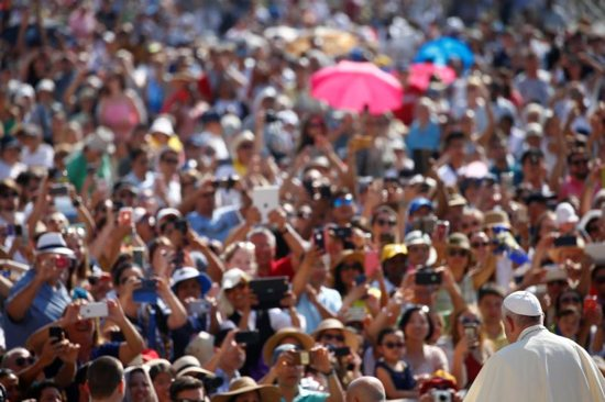 Pope Francis arrives for his general audience in St. Peter's Square
