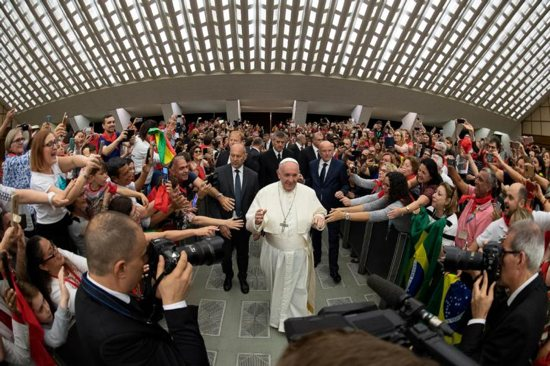 Pope Francis arrives for an audience with members of the Catholic Charismatic Renewal International Service in Paul VI hall at the Vatican June 8, 2019.