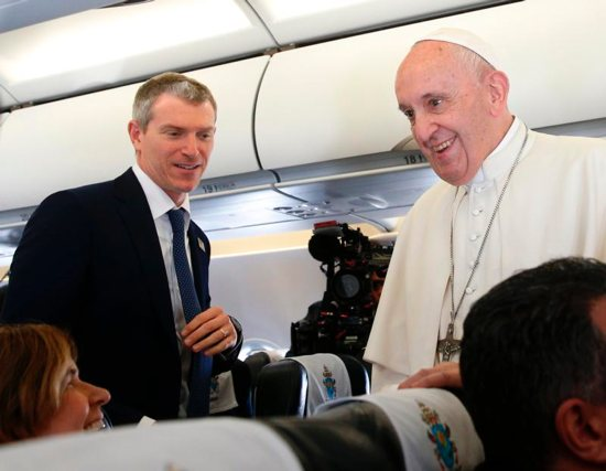 Matteo Bruni of the Vatican Press Office introduces journalists to Pope Francis aboard his flight from Rome to Sofia, Bulgaria