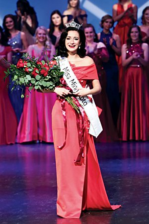 Kathryn Kueppers smiles moments after being named Miss Minnesota