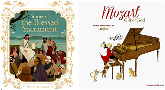 "Two book covers, ""Stories of the Blessed Sacrament"" by Francine Ray and ""Mozart: Gift of God"" by Demi,"
