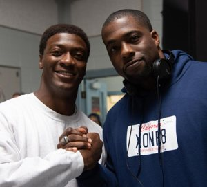 Actor Aldis Hodge and the real-life Brian Banks pose in an undated photo.