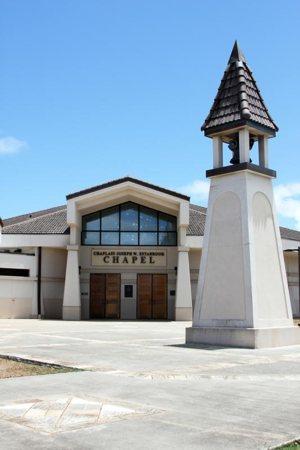 The Chaplain Joseph W. Estabrook Chapel on Marine Corps Base Hawaii in Kaneohe