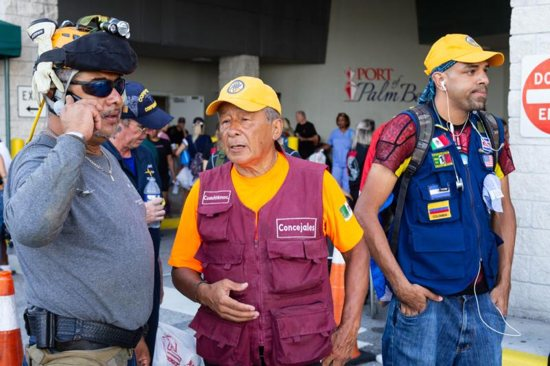 First responders, search and rescue volunteers, and professionals from the U.S. and Latin America arrive Sept. 18, 2019, at the Port of Palm Beach, Fla. They arrived following a mission in the northern Bahamas in response to Hurricane Dorian, which slammed into the islands with historic devastation Sept. 1-3.