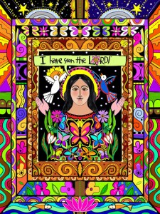 Brother Mickey McGrath's depiction of Mary Magdalene, art created on his iPad for his 2016 coloring calendar. (Courtesy Brother Mickey McGrath)