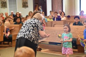 Students and staff at Holy Family School in Fairmount celebrated the golden jubilee of their principal, Sister Christina Marie Luczynski, CSSF, June 3. (Sun photo | Katherine Long)