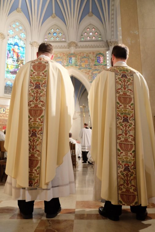 Father Peter Tassini (left) and Father Kenneth Kirkman (right) during their ordination Mass June 3. (Sun photo | Chuck Wainwright)