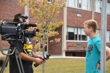 Pilgrim James Buttner was also interviewed by local media. (Sun photo | Katherine Long)