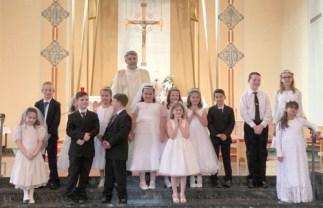 St Joseph Oswego 2018 first communion group color