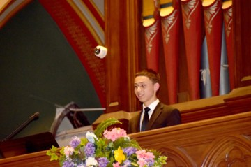 Dominic smiles - Just 14, he's 'preaching from the organ bench'