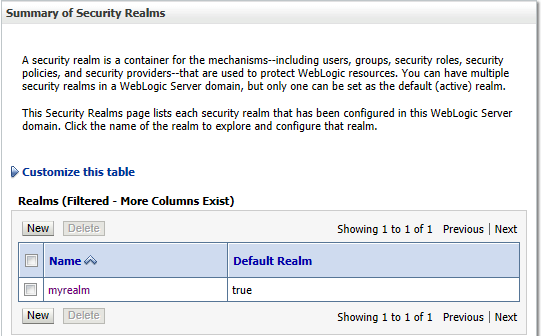 Summary of Security Realms