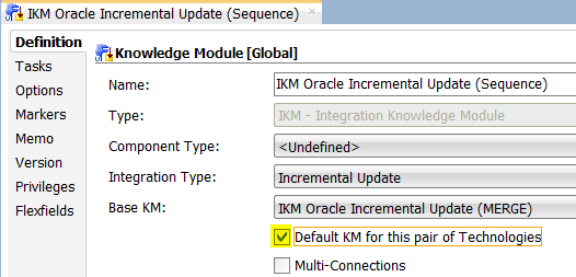 ODI Sequences IKM Default for this Pair