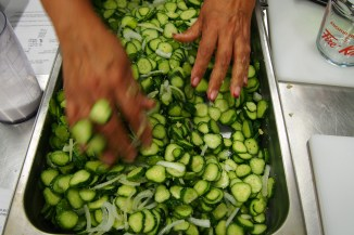 A little elbow grease to mix the produce.