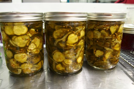 Finished product, Bread n Butter pickles.