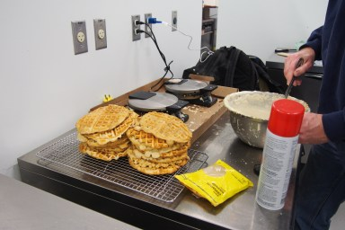 Detroit Soul Food waffles stacking up for the first orders of the day.