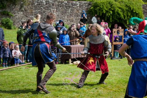 Berkeley Castle Medieval Jousting Show 2017 - Knights on Horseback Medieval Jousting Show from The Cavalry of Heroes - Sir Robert and Marc Lovatt The Golden Knight in Sword Fight