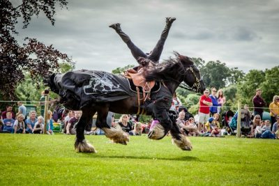 Flavours of Fingal Country Show Dublin Ireland - The Cavalry of Heroes Medieval Jousting Horse Stunt Show featuring Knights on Horseback - Dark Knight Headstand Scissors Trick Riding Sequence 2