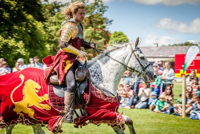 Flavours of Fingal Country Show Dublin Ireland - The Cavalry of Heroes Medieval Jousting Horse Stunt Show - Golden Knight Marc Lovatt Riding Harry