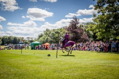 Flavours of Fingal Country Show Dublin Ireland - The Cavalry of Heroes Medieval Jousting Horse Stunt Show - Knight Sir Robert target practice