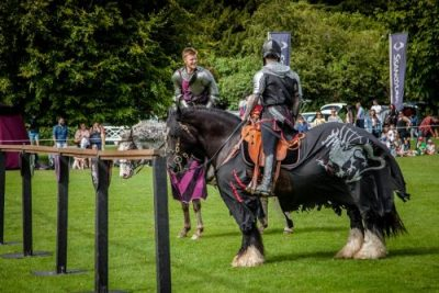 Flavours of Fingal Country Show Dublin Ireland - The Cavalry of Heroes Medieval Jousting Horse Stunt Show - Sir Robert and The Dark Knight, commrades in arms