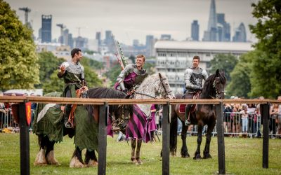 Medieval Jousting under the London Skyline at Lambeth Country Show