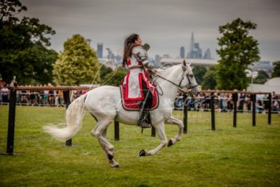 Lambeth Country Show - Brockwell Park - Medieval Jousting Tournament with The Cavalry of Heroes, Knights on Horseback Main Arena Stunt Horse Show 2017 - Lady Lancelot in London