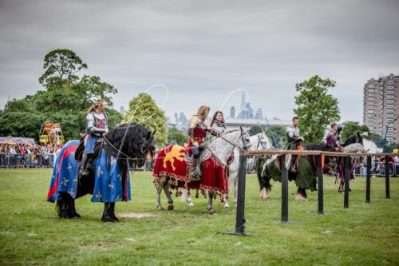 Lambeth Country Show - Brockwell Park - Medieval Jousting Tournament with The Cavalry of Heroes, Knights on Horseback Main Arena Stunt Horse Show 2017 - The Knights under the London Skyline